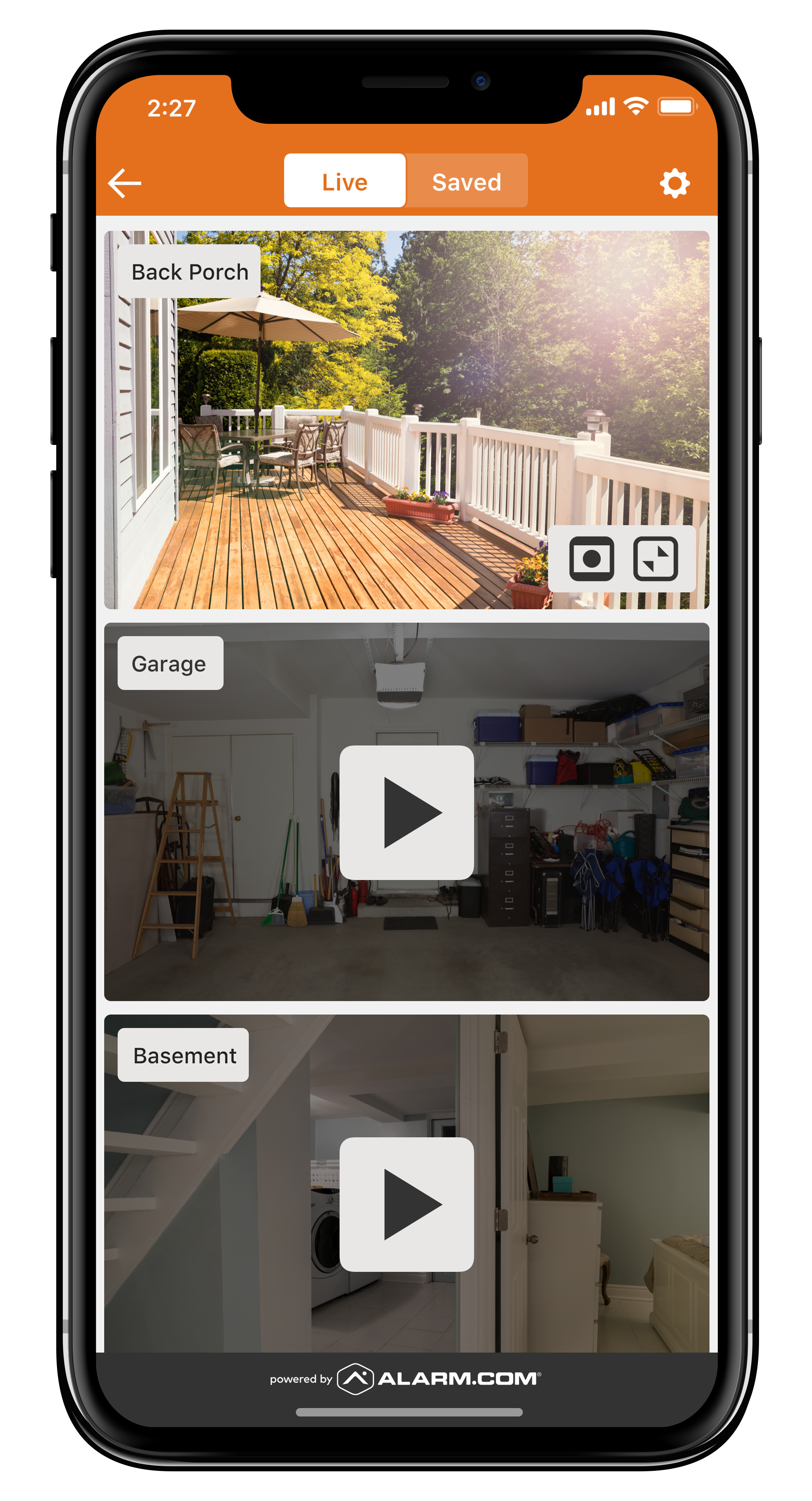 outdoor security cameras viewed from an iphone